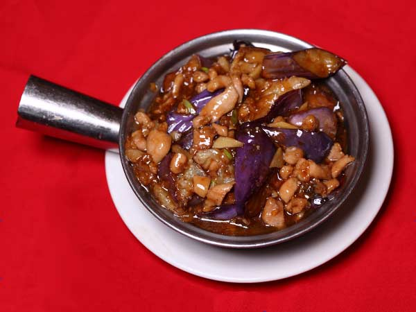 Szechuan Style Eggplant in Hot Pot